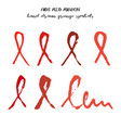 set of red aids ribbons from brush strokes vector image vector image
