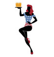 sexy redhead pinup girl carrying a tray with beer vector image vector image