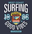 shark area west coast surfing vector image vector image