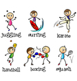 Six different sports vector image vector image