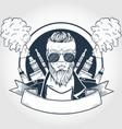 sketch hipster with vaporizer cigarette vector image