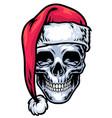 skull wearing santa claus hat vector image