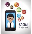 social network media d icon vector image vector image