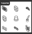 theatre outline isometric icons vector image vector image