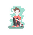 upset caucasian boy sitting and hugging his knees vector image
