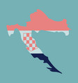 waving fabric flag map of croatia vector image vector image