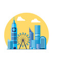 wheel panoramic with cityscape scene vector image vector image