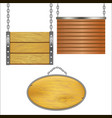 wooden signs hanging on metal chain set vector image vector image