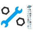 Wrench And Nuts Icon With Air Drone Tools Bonus vector image vector image