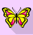 yellow butterfly icon flat style vector image vector image