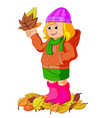 young girl with autumn leaf vector image