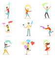 smiling people dancing with shawl set for label vector image