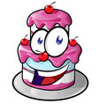 a cute happy cake cartoon vector image vector image