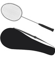 Badminton racket and cover vector image vector image