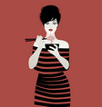 beautiful girl wearing striped clothes eating vector image