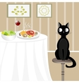 Black cat looking for food vector image vector image