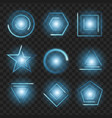 blue glowing lights shape on black transparent vector image vector image