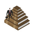 businessman walks stairs from books knowledge and vector image vector image