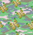 Butterfly on the military background pattern vector image vector image
