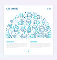 car sharing concept in half circle vector image