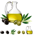 carafe with olive oil green and black olive vector image