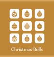 christmas ball icon set vector image