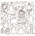 Coffee related doodle setLinear tablewarebeans vector image