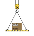crane lifts a box with cargo vector image vector image