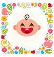 cute baby cartoon flat icon adorable happy and vector image