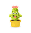 cute cartoon cactus character with happy funny vector image vector image