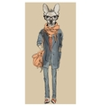 cute fashion hipster dog vector image vector image