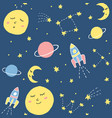 cute seamless pattern with cosmic elements vector image
