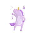 cute unicorn character dancing funny magical vector image vector image