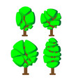 decorative green tree icons set in cartoon vector image