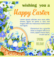 easter egg poster paschal greeting template vector image vector image