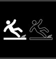 falling man icon set white color flat style vector image vector image