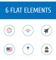 flat icons decoration aircraft military man and vector image vector image