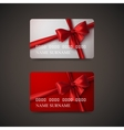 Gift Cards With Red Bow And Ribbon vector image vector image
