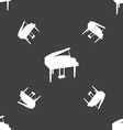 Grand piano icon sign Seamless pattern on a gray vector image