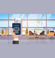 hand holding passport ticket boarding pass travel vector image vector image