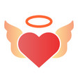 heart with pair of wings flat icon valentines vector image vector image