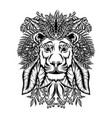 lion entangle with floral ornament vector image vector image