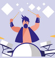 man playing drums avatar character vector image