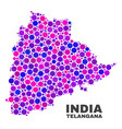 mosaic telangana state map of round items vector image vector image