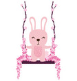 rabbit swing with flowers vector image vector image