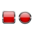 red buttons with chrome frame round and square vector image vector image