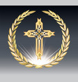 religioush gold crosse with sun rays transparent vector image