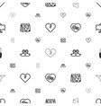 romantic icons pattern seamless white background vector image vector image