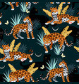 seamless pattern with cute jaguar and palms vector image