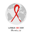 shape of red aids ribbon from brush strokes vector image vector image
